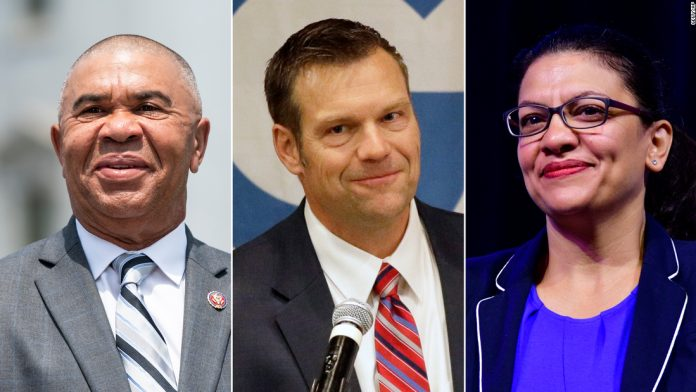 From left, Rep. Lacy Clay of Missouri, former Kansas Secretary of State Kris Kobach and Rep. Rashida Tlaib of Michigan -- three politicians facing primaries on Tuesday.