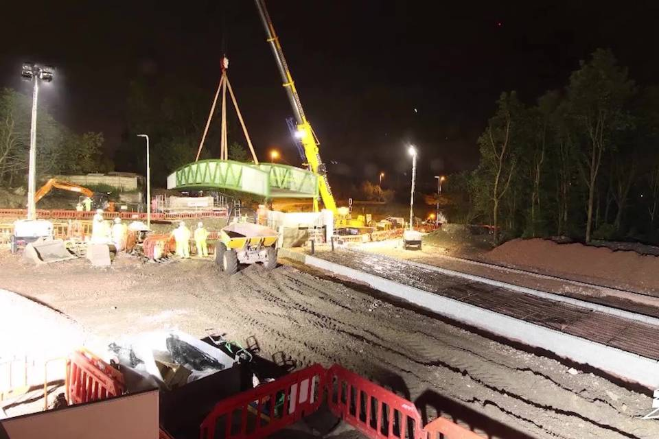 new bridge lifted into place