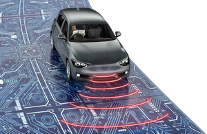 Graphic demonstrating a car with wireless connectivity