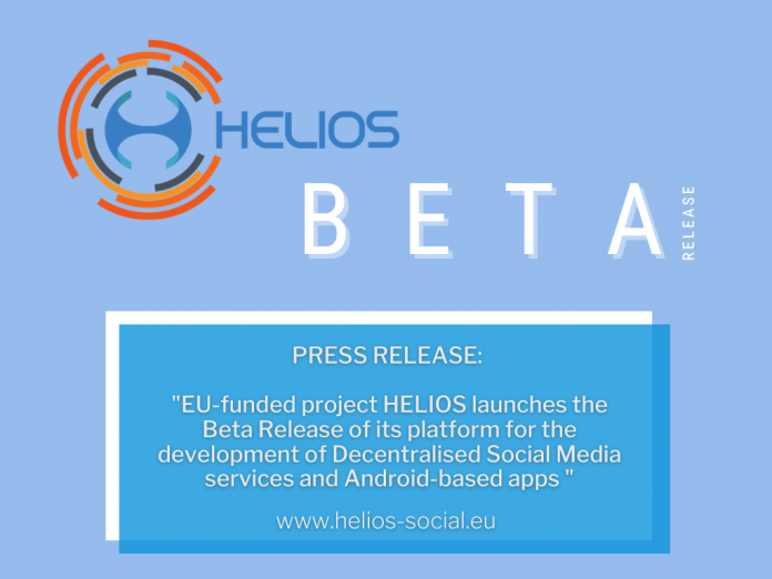 EU-funded project HELIOS launches the Beta Release of its platform for the development of Decentralised Social Media services and Android-based apps