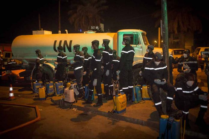 Decontamination campaign by MINUSMA in the Bamako district in response to the COVID-19 outbreak in Mali. (UN Photo)