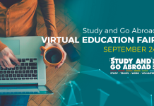 Study and Go Abroad Virtual Education Fair and Webinars: September 24th – free entry.