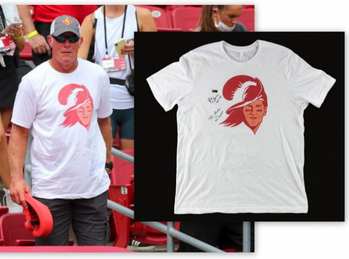 Tampa Bay Buccaneers T-Shirt Twice Signed by Brett Favre, with a Shout-out to Tom Brady, will be Sold Online, Sept 29th