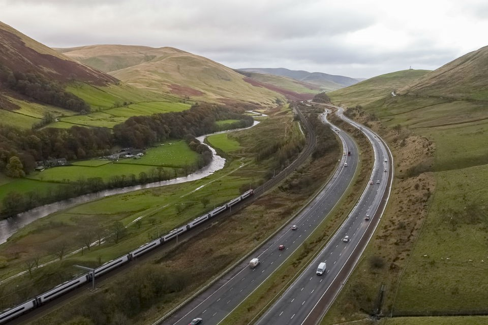 River, railway, motorway,..the M6 as it snakes through the Lune Gorge