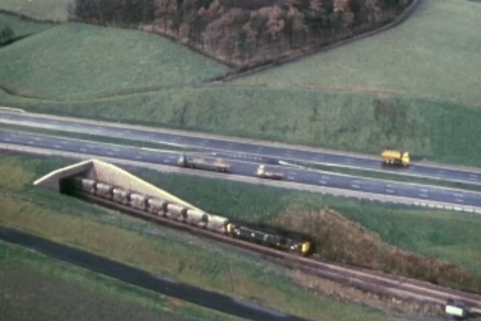 The newly-opened motorway running alongside the main Lancaster to Carlisle railway line