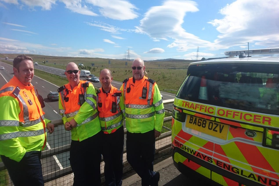 Traffic officers at Shap in 2019