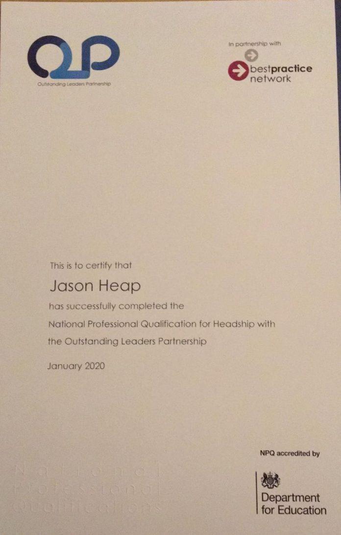 Dr Jason Heap Receives NPQH Qualification