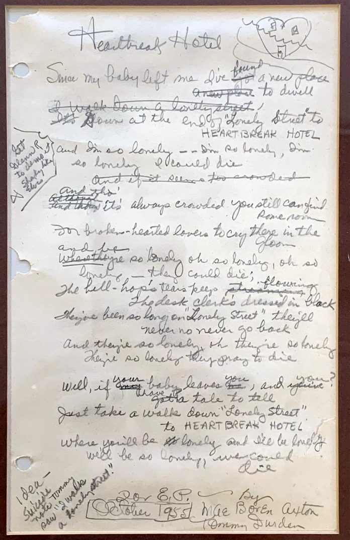 Handwritten Lyrics to the 1956 Elvis Presley Song Heartbreak Hotel will be Auctioned Nov 19th-20th