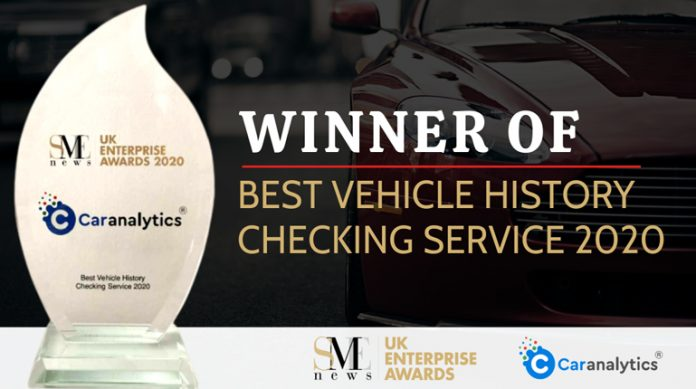 UK Enterprise Awards 2020 – Car Analytics Gets Best Vehicle History Check Service 2020 Award from SME News