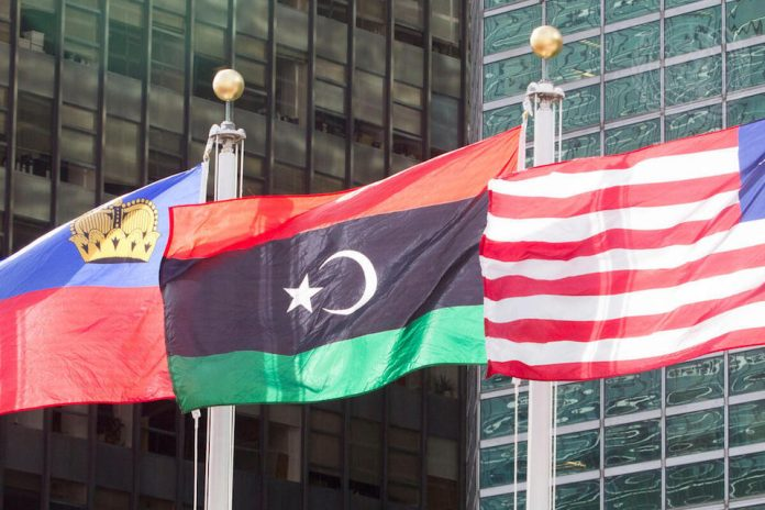 Libyan flag outside UN Headquarters (UN Photo)